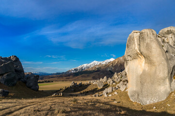 Huge limestone boulders, megalith rock formations in New Zealand