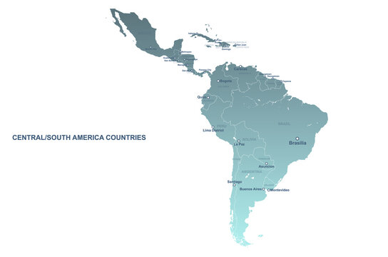 south american countries map. vector map of latin america. central, south america map.