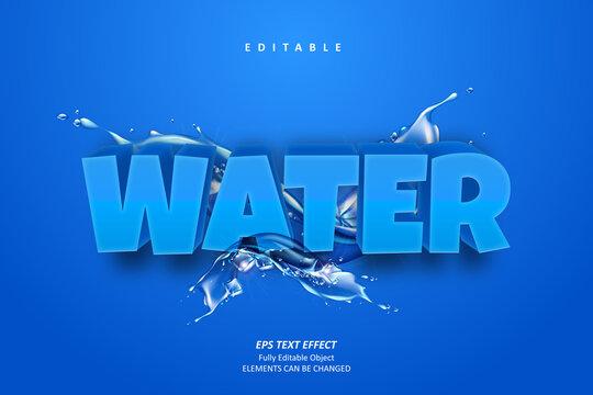 3D Water Blue Text Effect Editable Premium Vector