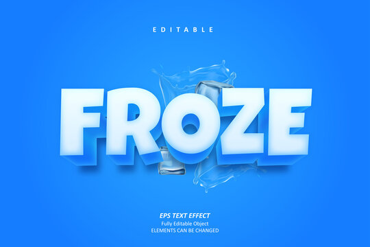 Froze and Cool Cube Text Effect Editable Premium Vector