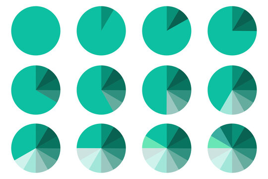 Pie chart vector icon. Color wheel divided into sectors.