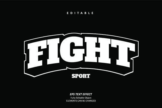Fight Sport Emblem Title Text Effect Editable Premium Vector