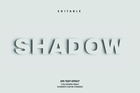 Shadow White Text Effect Editable Premium Vector