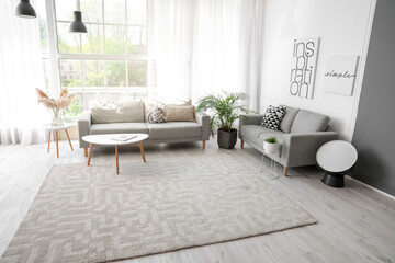 Wall Mural - Stylish interior of living room with carpet and sofas