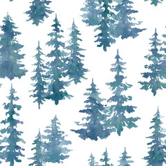 Watercolor seamless pattern with blue foggy forest. Evergreen fir trees. Hand drawn background with landscape. Natural, ecological, tourism and hiking theme