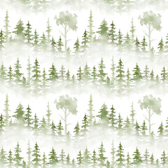 Watercolor seamless pattern with greren foggy forest. Evergreen fir trees. Hand drawn background with landscape. Natural, ecological, tourism and hiking theme