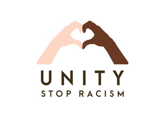 Hands in the form of heart. Unity symbol. Stop racism icon. Motivational poster against racism and discrimination. two hands of different races together in. Vector Illustration