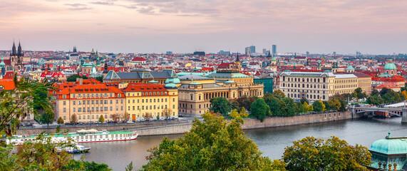 Sunset landscape view to Vltava river in Prague Czech republic. Stock photo.