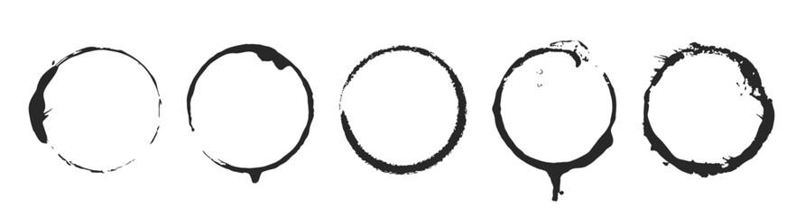 Grunge circle brush ink frames set. Vector illustration set