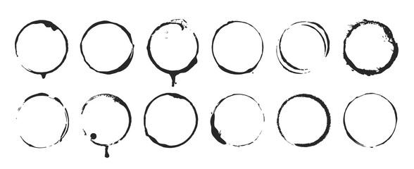Grunge circle brush ink frames set. Clip-art illustration set