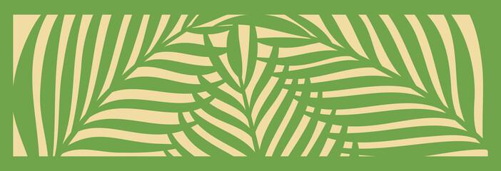 Decorative card for cutting. Palm leaf pattern. Laser cut. Vector illustration.
