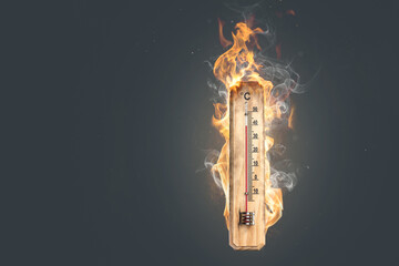 Hot temperature - Thermometer on fire