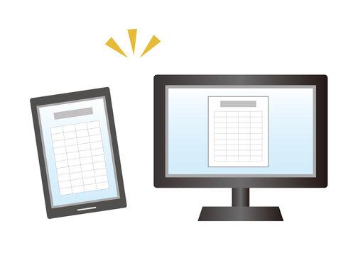 PCとスマホで管理イメージ、ペーパーレス