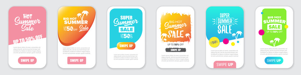 Modern liquid mobile sale banners set . Hot Sale banner design template , Super sale special offer web horizontal banners collection.