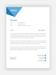 Creative Style Blue Color Letterhead Design For Your Business Vector Template