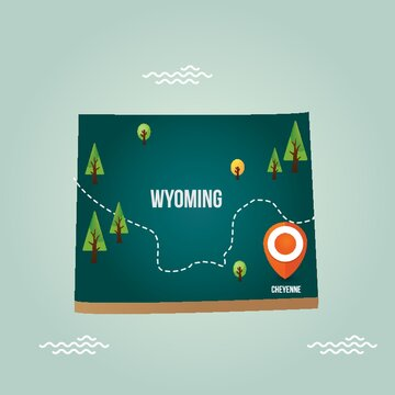 Wyoming map with capital city