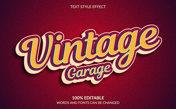 Editable Text Effect, Classic Vintage Garage Text Style