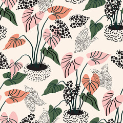 Minimal floral pattern in scandinavian style. Abstract flowers seamless pattern