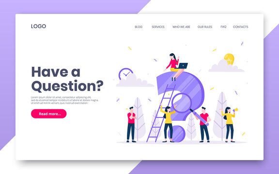 FAQ or Q and A internet landing page concept web template. Teamwork characters working together with faq big question mark, frequently asked questions concept flat style design vector illustration.