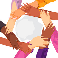 Hands of diverse group of women putting together in circle. Concept of sisterhood, girl power, feminist community or movement, friendship, support and cooperation, isolated on white