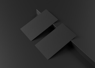 Two black US business card Mockup on black background. 3D rendering