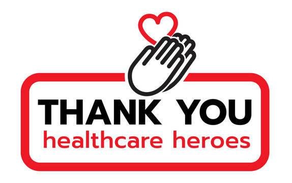 Thank you to all healthcare heroes- doctors, nurses, workers fighting coronavirus gratitude message, Lettering Illustration design