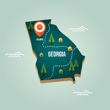 Georgia map with capital city