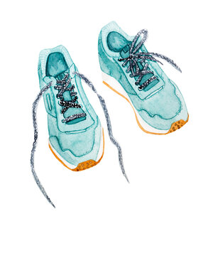 Sports shoes watercolor style illustration isolated on white background