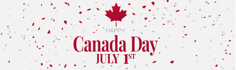 Canada day banner or header background. 1st of July national holiday design. Red and white confetti. Simple vector illustration.