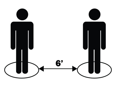 Social Distancing 6ft Apart Stick Figure Black Icon Pictogram. EPS Vector