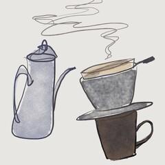ポットと、コーヒードリッパーとカップ ハンドドリップ