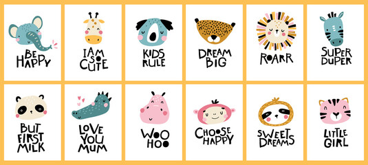 Big tropical collection. Cute face of an animal with lettering. Childish print for nursery in a Scandinavian style. Ideal for baby posters, cards, clothes. Vector cartoon illustration in pastel colors