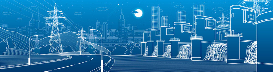 Fototapeten Blau Jeans Hydro power plant. River Dam. Renewable energy sources. Illumination highway. City infrastructure industrial illustration panorama. Urban life. White lines on blue background. Vector design