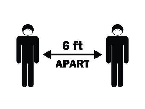 Social Distancing six 6 feet apart from others. Black and white stick figures with face mask. Covid-19 pandemic guideline. EPS Vector