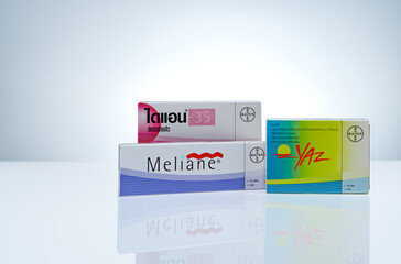 CHONBURI, THAILAND-MAY 24, 2020 : Diane, Meliane, and Yaz isolated on white background. Contraceptive pills. Birth control pills in box package. Bayer products. Hormone drugs. Pharmaceutical industry.