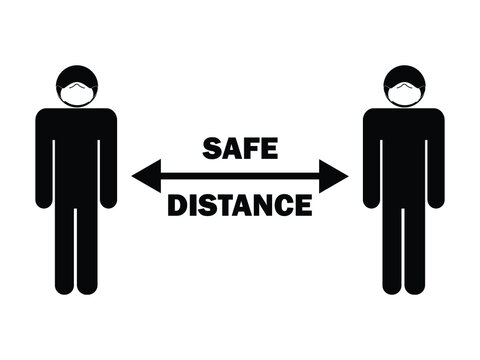 Safe Distance Arrow Stick Figure with Mask. Illustration depicting social distancing guidelines and rules during covid-19. EPS Vector