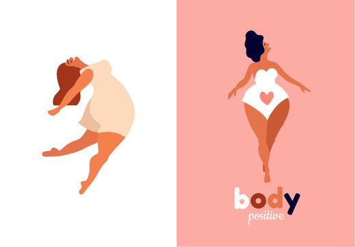 Happy women. Body positive vertical cards. Love yourself, your body lettering type. Female freedom, girl power or international women's day vector illustration.
