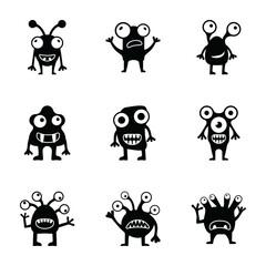 Door stickers Monster Monsters Glyph Vectors Pack