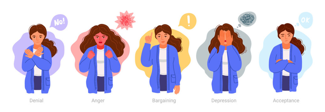 Denial, anger, bargaining, depression, acceptance. Woman expressing different negative emotions. 5 stages of accepting the inevitable. Sad, furious, irritated girl. Vector hand-drawn characters.