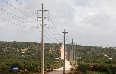 Electrical power lines from the Benadir Electricity Company (BECO) solar project in the outskirts Mogadishu