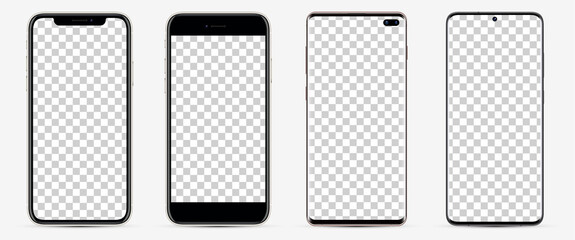Realistic models smartphone with blank screens for your design. Mockup collection.  Vector illustration.