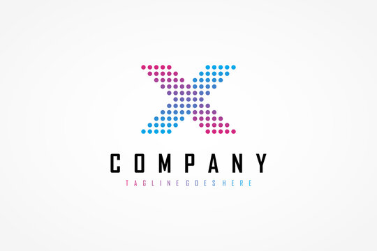 Abstract Initial Letter X Logo. Purple Blue Geometric Arrow Pixel Dots Halftone Style. Usable for Business and Technology Logos. Flat Vector Logo Design Template Element.