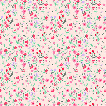 Floral pattern. Pretty flowers on white background. Printing with small pastel colour flowers. Ditsy print. Seamless vector texture. Spring field.