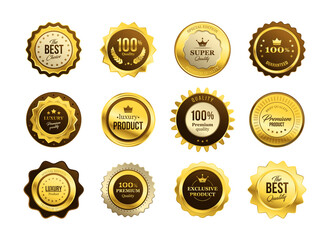 Premium quality medals set. Golden labels, gold badges, best product stamp, guarantee seal circle. Flat vector illustration for award, achievement, best choice concepts