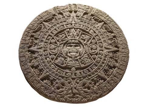 The Aztec sun stone (Spanish: Piedra del Sol) isolated on white background.  It's the most famous work of Aztec sculpture.