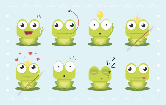 Cartoon Frog Emotions. Vector Frog with arrow. Vector Set of Frog. Flat frog in different actions. Sitting, ridiculous,sleeping, laughing, scared, falling in love. Expression vector