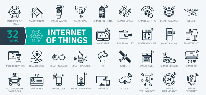 Internet Of Things icons Pack. Thin line Collection Smart Technology icons