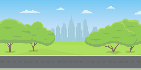 Fond de hotte en verre imprimé Piscine Road or highway in the city park or countryside with cityscape. Landscape with green trees, grass and sky. Vector illustration.