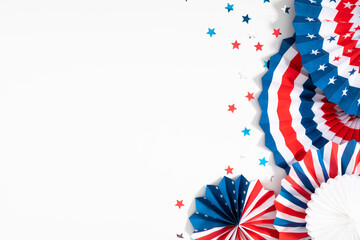 4th of July American Independence Day. Happy Independence Day. Red, blue and white star confetti, paper decorations on white background. Flat lay, top view, copy space
