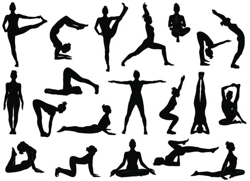 Set of vector silhouettes of woman doing yoga exercises.  Icons of flexible girl stretching her body in different yoga poses. Black shapes of woman isolated on white background.